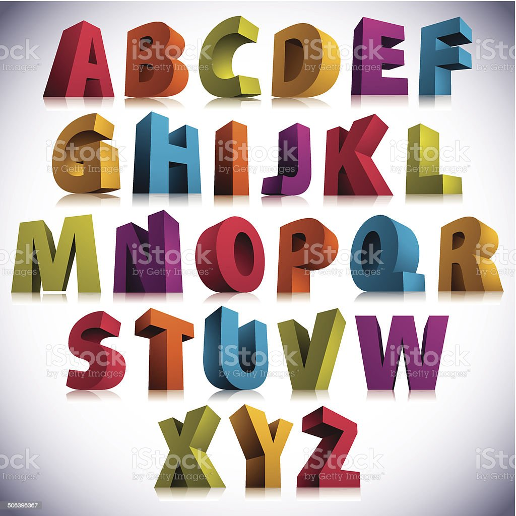 3D font, big colorful letters standing. vector art illustration