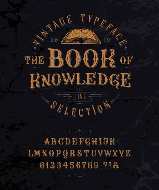bildbanksillustrationer, clip art samt tecknat material och ikoner med font book of knowledge. vintage bokstäver, siffror - det förflutna