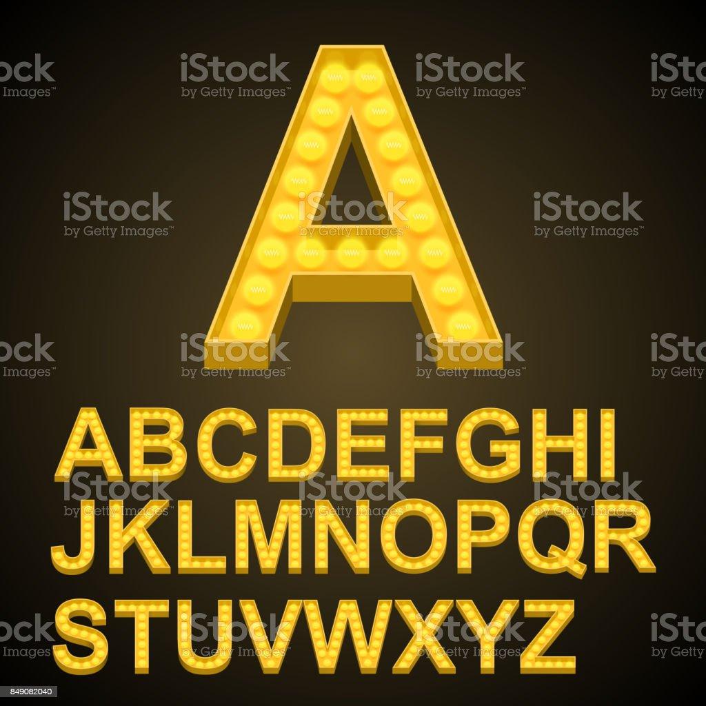 Font bulbs art sign abc vector art illustration