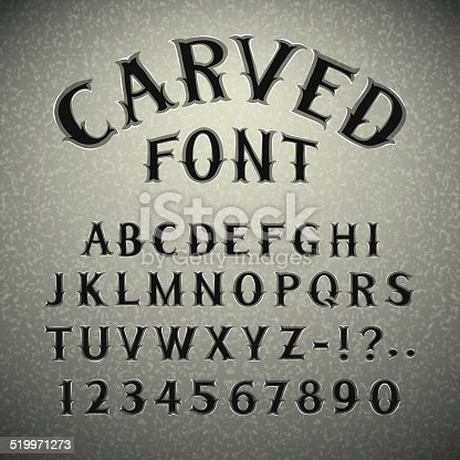 Font Carved in Stone. In the EPS file, each element is grouped separately. Clipping paths included in additional jpg format.
