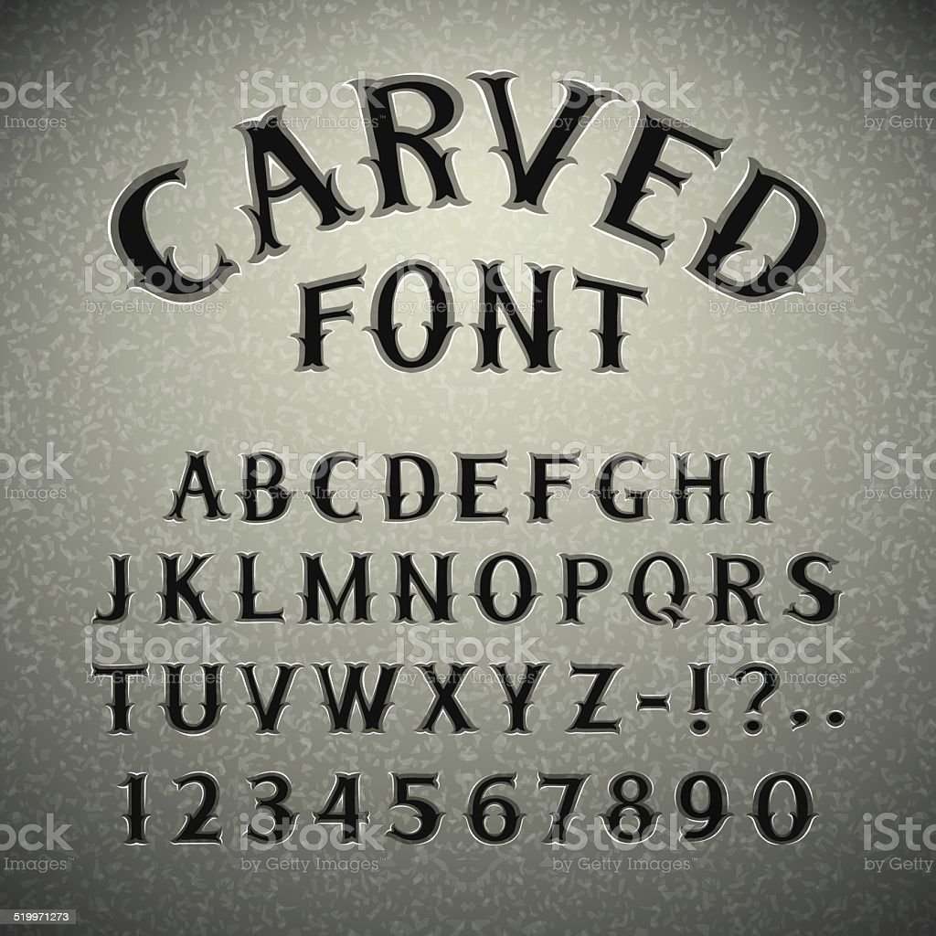 Font Carved in Stone vector art illustration