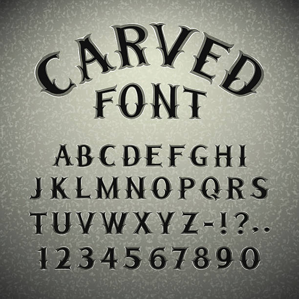 font carved in stone - tombstone stock illustrations