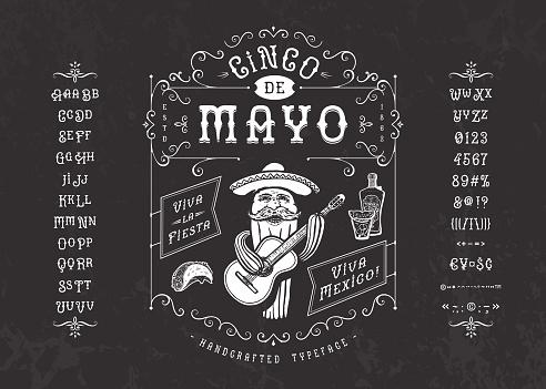 Font Cinco de Mayo. Craft retro vintage typeface