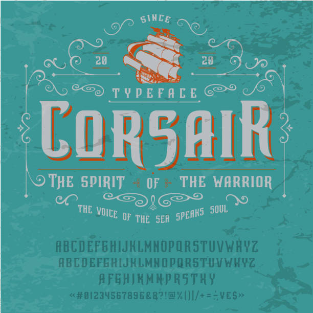 Font CORSAIR. Vintage typeface design. Font CORSAIR. Craft retro vintage typeface design. Graphic display alphabet. Fantasy style letters. Latin characters and numbers. Vector illustration. Old badge, label, logo template. alphabet borders stock illustrations
