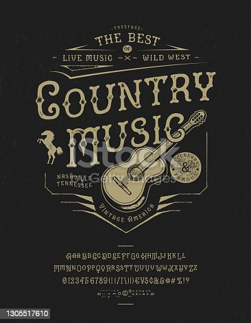 istock Font Country music. Craft retro vintage typeface 1305517610