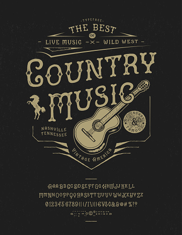 Font Country music. Craft retro vintage typeface