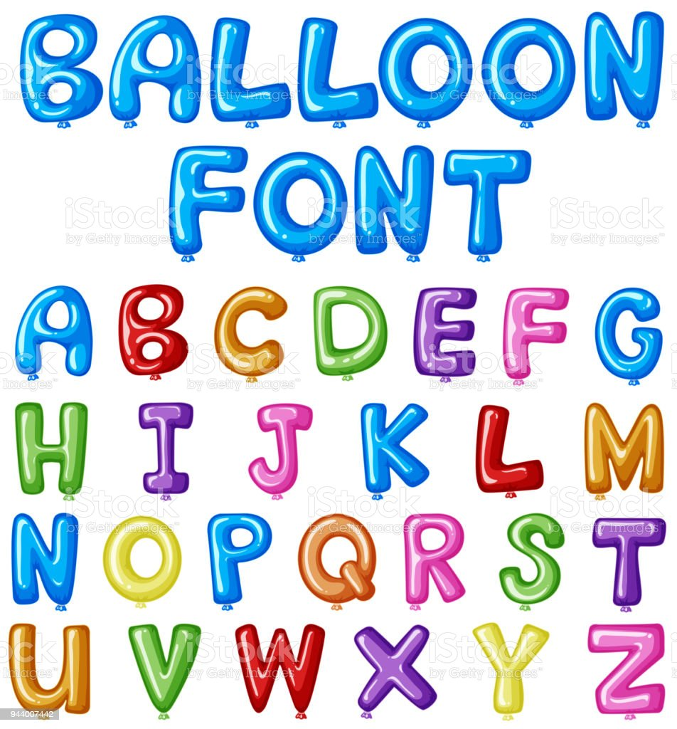 Font Design For English Alphabets In Balloon Shape Stock Illustration -  Download Image Now - iStock