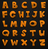 Font design for english alphabets in brown color