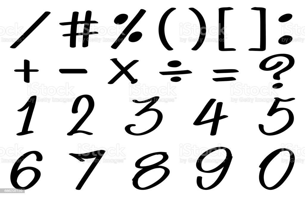Sayilar Ve Matematik Isaretleri Icin Yazi Tipi Tasarim Stok Vektor