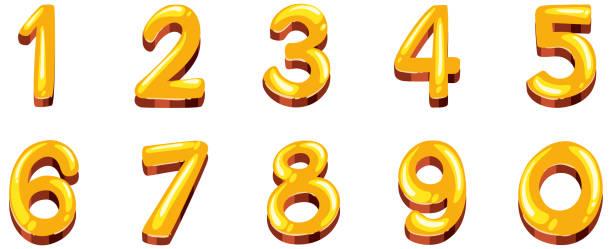 Schriftdesign für Zahlen eins bis Null auf weißem Hintergrund – Vektorgrafik
