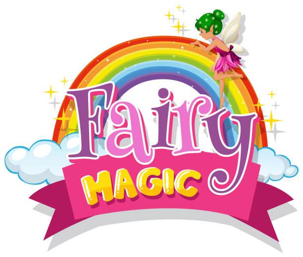 Schriftdesign für Wort Fee Magie mit Fee fliegen – Vektorgrafik