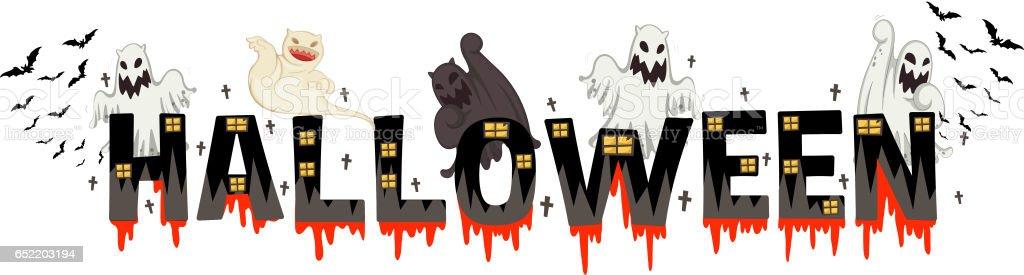 font design for word halloween stock vector art more images of art