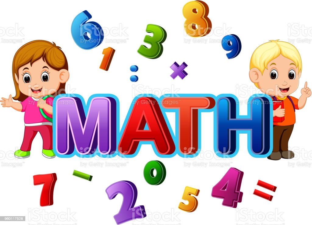 font design for word math with student stock vector art & more