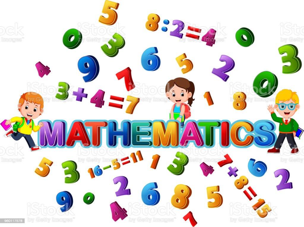 Schriftgestaltung Für Wort Mathematik Mit Schüler Stock Vektor Art ...