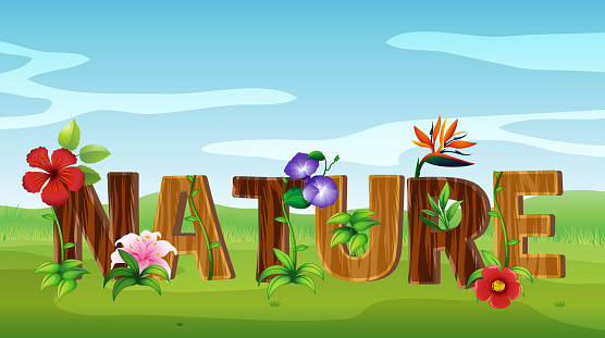 Font design for word nature with many flowers