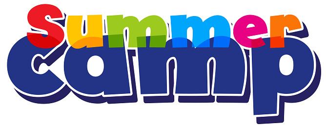 Font design for word summer camp on white background