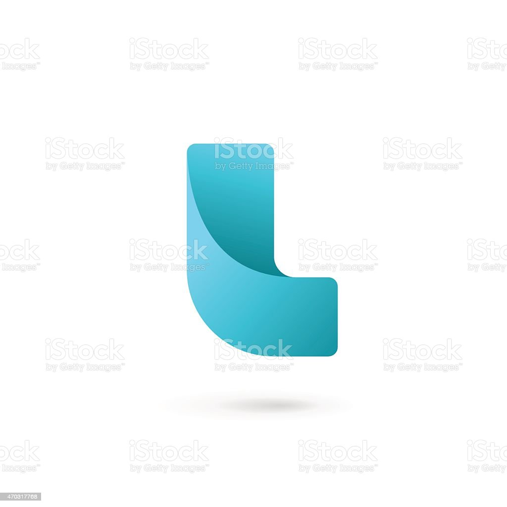 Font design template with a curved blue letter L vector art illustration