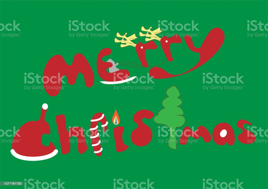 Font Design Word Merry Christmas Stock Illustration Download Image Now