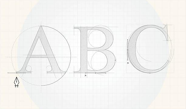 Font designing vector art illustration