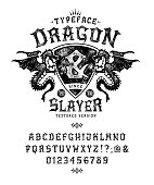 istock Font Dragon Lord. Pop vintage letters, numbers 1192137395