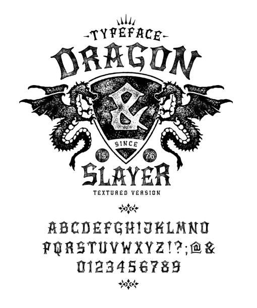bildbanksillustrationer, clip art samt tecknat material och ikoner med font dragon lord. pop vintage bokstäver, siffror - gotisk stil