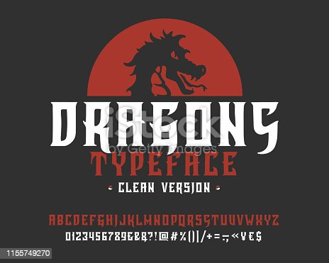 Font Dragons. Clean version.  Hand crafted retro vintage typeface design. Handmade  lettering. Authentic handwritten alphabet. Vector graphic illustration old badge label  template.