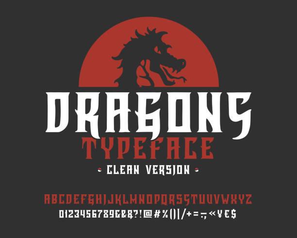 ilustrações de stock, clip art, desenhos animados e ícones de font dragons. clean version. - japanese font