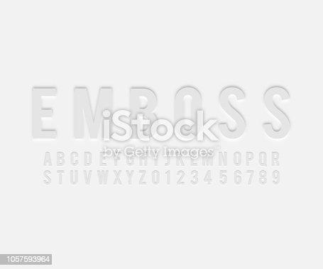 Font alphabet emboss effect in vector format