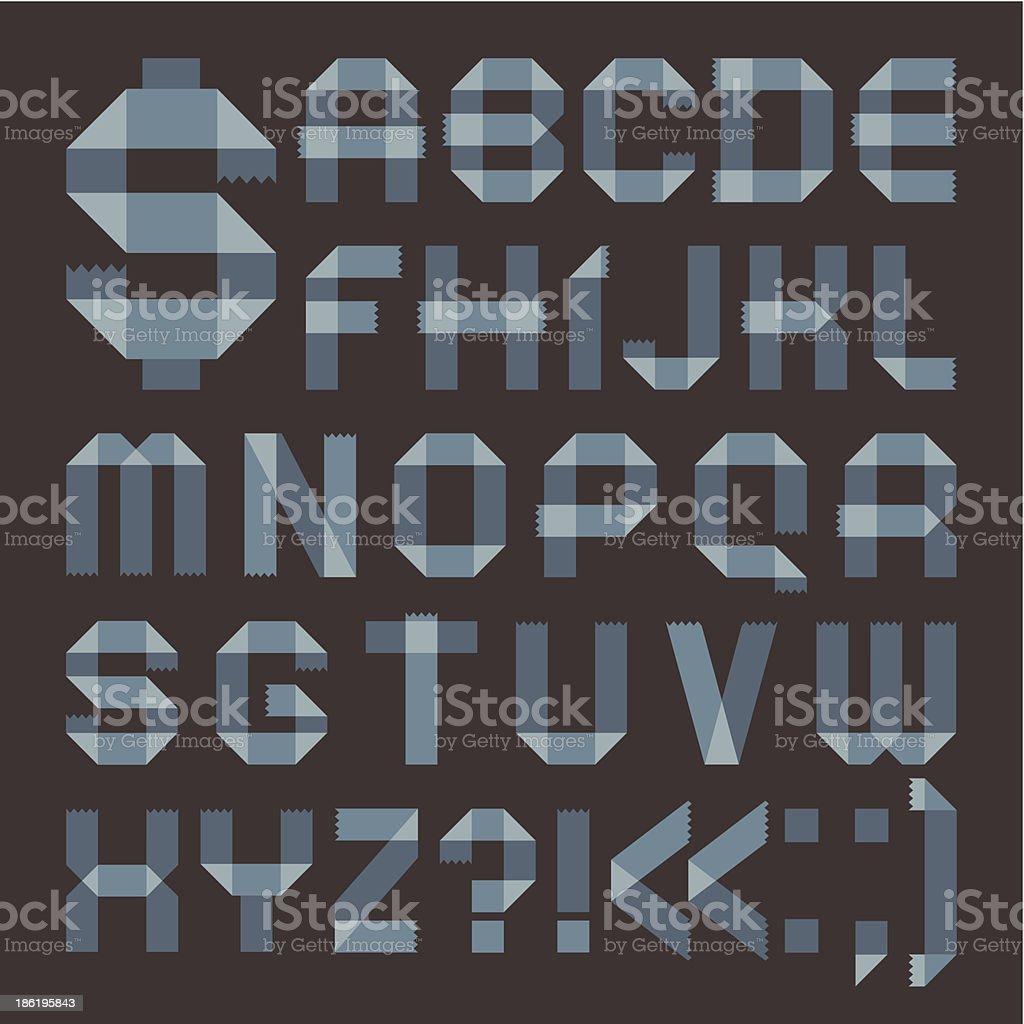Font from bluish scotch tape -  Roman alphabet royalty-free stock vector art