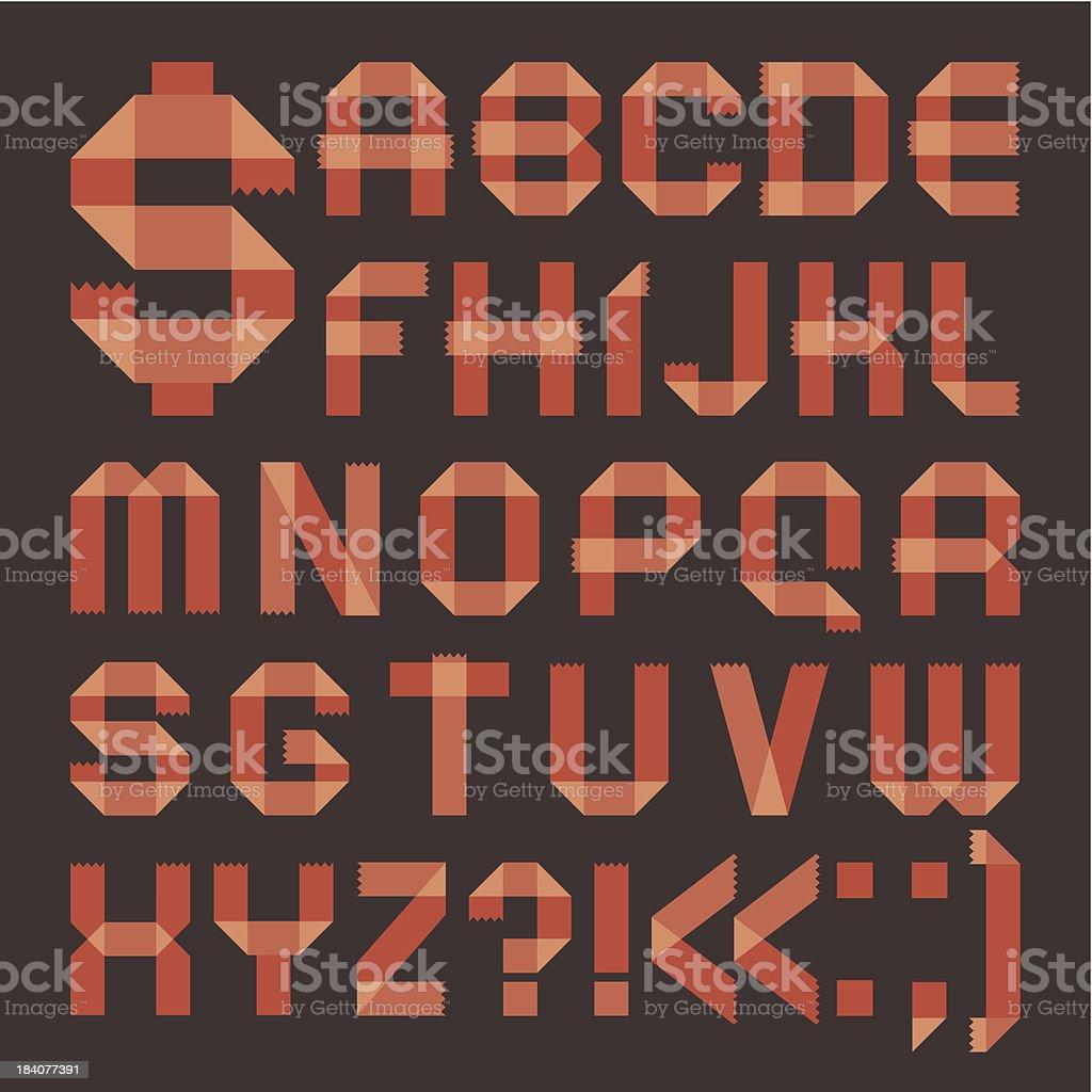 Font from reddish scotch tape -  Roman alphabet royalty-free stock vector art