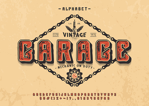 Font Garage. 3d display typeface