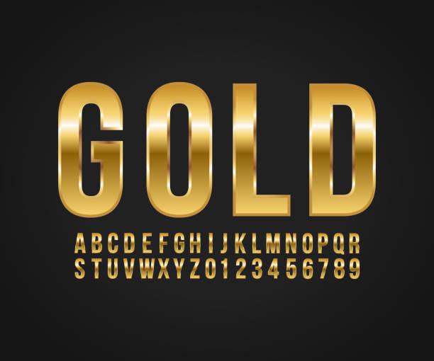 ilustrações de stock, clip art, desenhos animados e ícones de font gold effect vector - texto