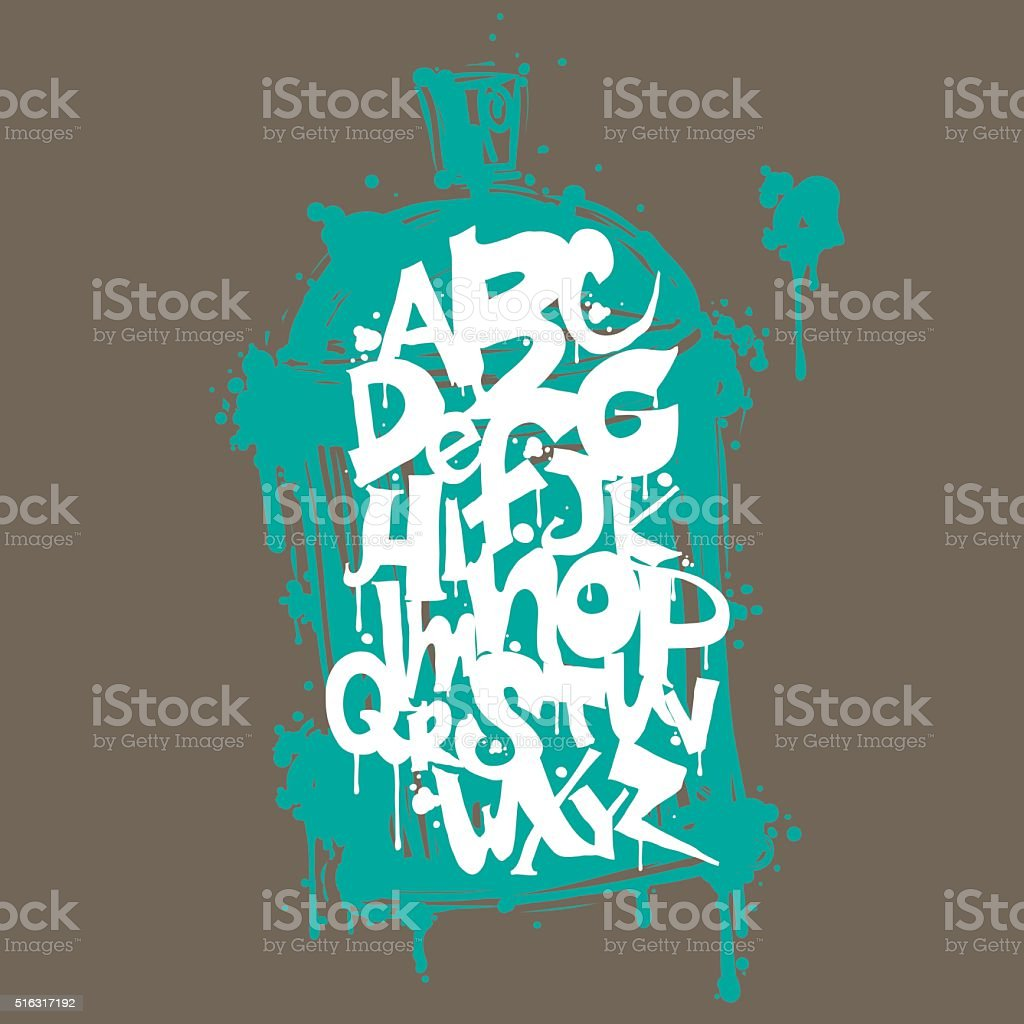 Font graffiti vandal and cans vector art illustration