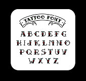 Font in the style of the old school tattoo. Alphabet for tattoos. Contour letters with a fill. A set of letters for tattoos. The flat vector. Letters isolated on white background.