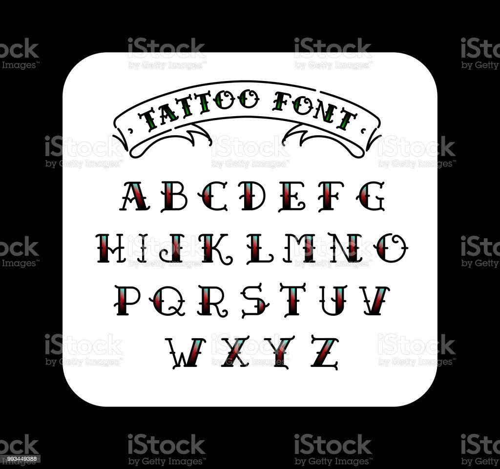 Font in the style of the old school tattoo. Alphabet for tattoos. Contour letters with a fill. A set of letters for tattoos. The flat vector. Letters isolated on white background. vector art illustration