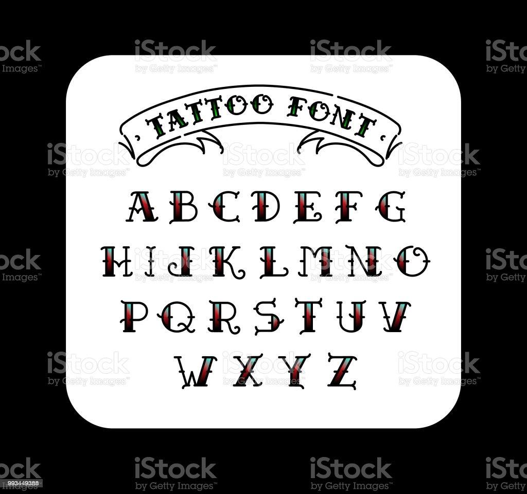 Polices dans le style du tatouage old school. Alphabet pour les tatouages. Lettres contours avec un remplissage. Un ensemble de lettres pour les tatouages. Le vecteur de plat. Lettres isolé sur fond blanc. - Illustration vectorielle