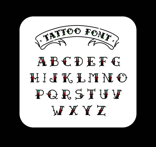 Font in the style of the old school tattoo. Alphabet for tattoos. Contour letters with a fill. A set of letters for tattoos. The flat vector. Letters isolated on white background. Font in the style of the old school tattoo. Alphabet for tattoos. Contour letters with a fill. A set of letters for tattoos. The flat vector. Letters isolated on white background. Anglo American stock illustrations