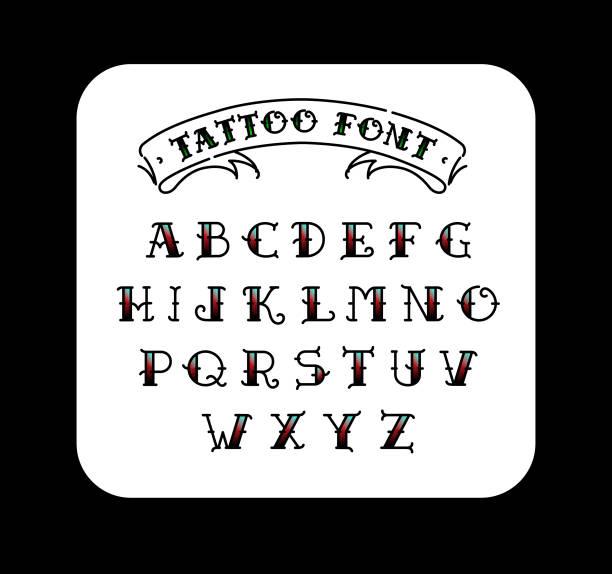 illustrations, cliparts, dessins animés et icônes de polices dans le style du tatouage old school. alphabet pour les tatouages. lettres contours avec un remplissage. un ensemble de lettres pour les tatouages. le vecteur de plat. lettres isolé sur fond blanc. - tatouage