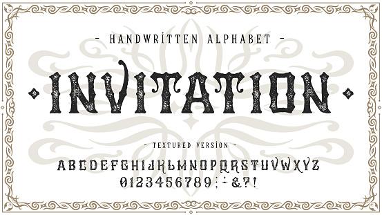 Font Invitation. Craft vintage typeface design