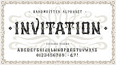 Font Invitation. Craft retro vintage typeface design. Graphic display alphabet. Fantasy type letters. Latin characters, numbers. Vector illustration. Old badge, label, logo template.