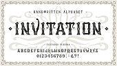 istock Font Invitation. Craft vintage typeface design 1255794757
