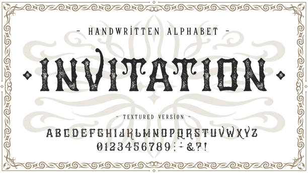 Font Invitation. Craft vintage typeface design Font Invitation. Craft retro vintage typeface design. Graphic display alphabet. Fantasy type letters. Latin characters, numbers. Vector illustration. Old badge, label, logo template. alphabet borders stock illustrations