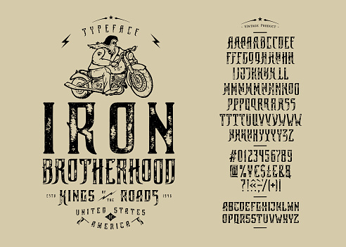 Font Iron Brotherhood. Craft retro vintage typeface design. Graphic display alphabet. Fantasy type letters. Latin characters, numbers. Vector illustration. Old badge, label, logo template.