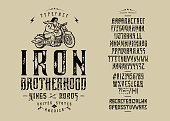 istock Font Iron Brotherhood Craft retro vintage typeface 1305518733