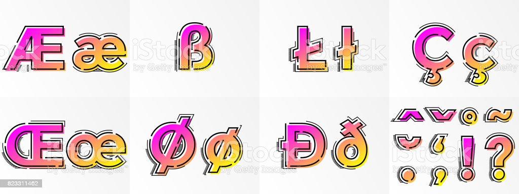 Font Letters Special Symbols Punctuation Signs Vector Gradient Color