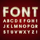 Retro Llght bulb font alphabet in vector format