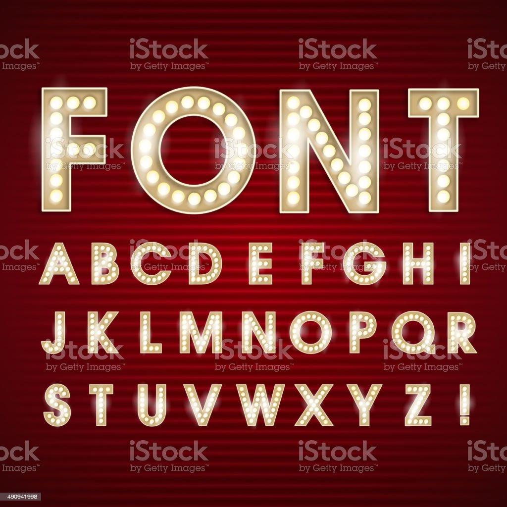 Font light bulb alphabet vector vector art illustration