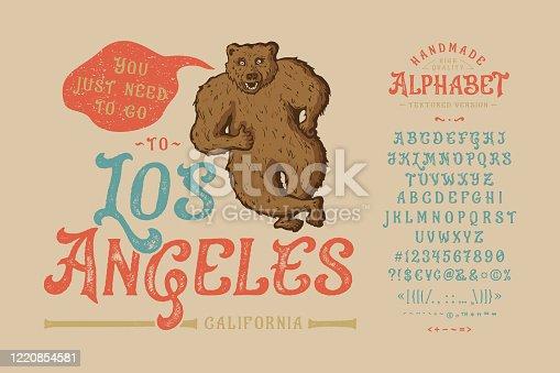 istock Font Los Angeles.Vintage typeface design. 1220854581