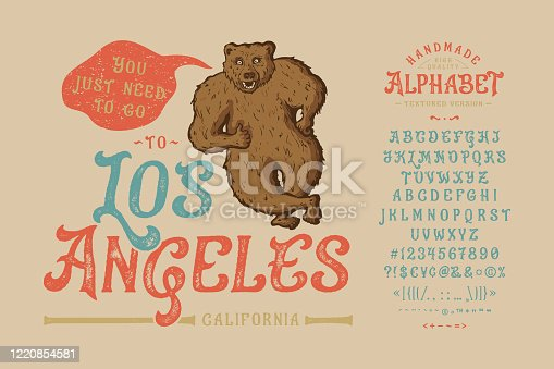 istock Font Los Angeles.Vintage typeface design. 1220854581