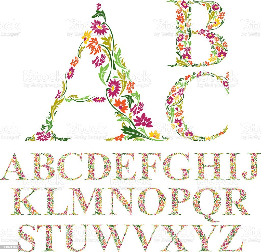 Font made with leaves, floral alphabet letters set, vector vector art illustration